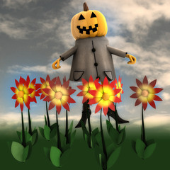 halloween pumpkin witch in dark flower garden illustration