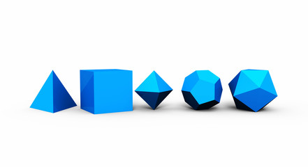 3D Platonische Körper der heiligen Geometrie - Blau
