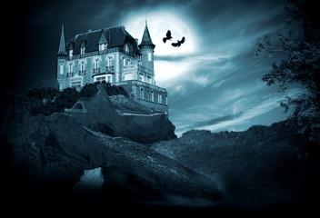 Papiers peints Pleine lune halloween, castillo con luna, noche