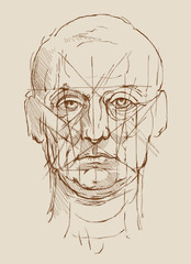 Head Men. Based on drawing of Leonardo da Vinci