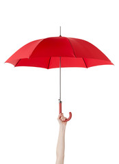 Close up of opened umbrella in hand, isolated on white
