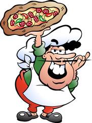 Hand-drawn Vector illustration of an Italian Pizza Baker