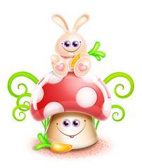 Whimsical Cute Kawaii Cartoon Bunny on Mushroom