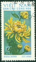 stamp printed in Vietnam shows Chrysanthemum