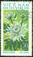 stamp printed in Vietnam shows red chrysanthemum