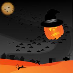 pumpkin flying with bats