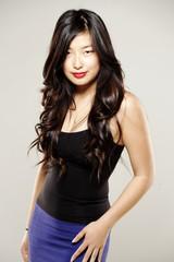 Beautiful asian woman in fancy dress