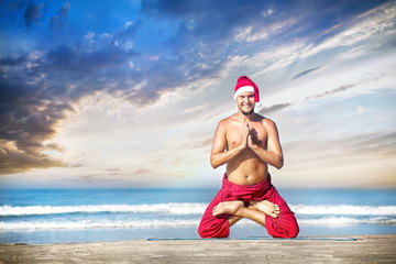 Christmas yoga on the beach