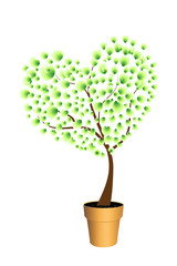 Eco concept with green love tree