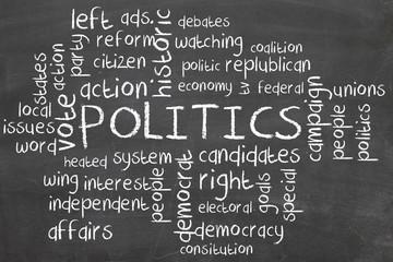 politics word cloud on blackboard