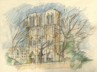 Crayon drawing of the historic facade of Notre dame, Paris