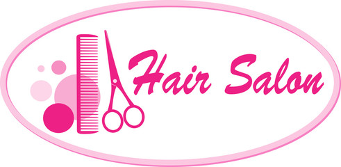 hair salon signboard with scissors and comb