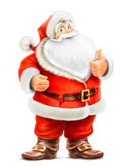Santa Claus show ok isolated on white background