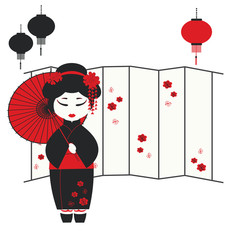 Foto op Textielframe Rood, zwart, wit Vector illustration of a geisha girl with umbrella
