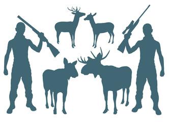 Hunter and deer vector background