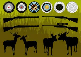 Shooting range wild deer, elk and moose silhouettes and guns vec
