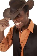 African cowboy excited orange shirt