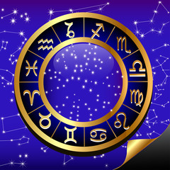 night sky and gold(en) circle of the constellation sign zodiac