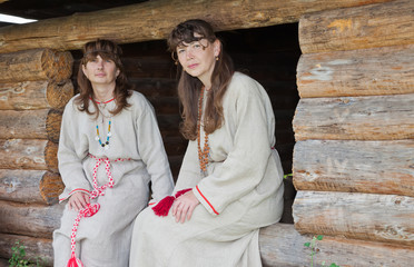 Two white women in Russian folk clothes