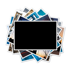 Collection of photos with blank frame in the middle