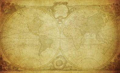 vintage map of the world 1744..