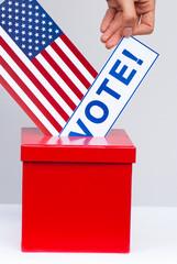 american flag and ballot box