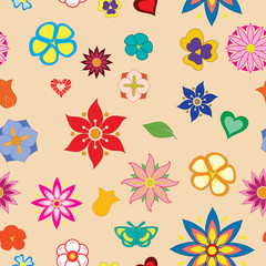Multicolored flower seamless pattern