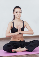 the girl in a lotus pose
