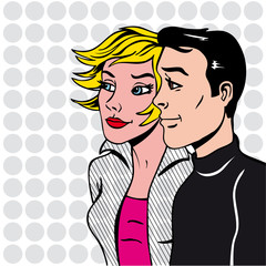 illustration couple pop art