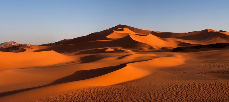 Panorama of sand dunes, Algeria