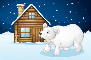 Canvas Prints Bears house and polar bear
