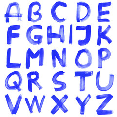 High resolution blue hand painted font set isolated on white