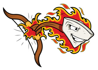 Bow and Arrow Mascot Tatoo Vector