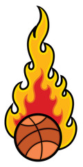 Basket Ball with Flames Vector