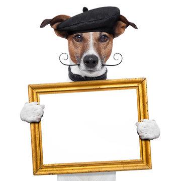 painter artist frame holding dog
