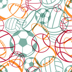 Sports seamless pattern. Vector illustration.