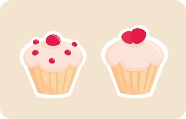 Vector sweet retro cupcake silhouettes