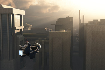 Scifi police vehicle over city