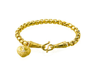 Golden bracelet with heart shape isolated