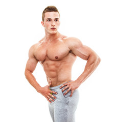 Muscular male torso of bodybuilder, studio shot