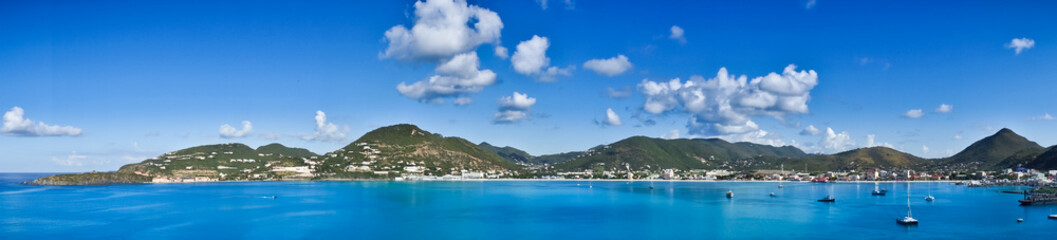 Wall Murals Caribbean Beautiful panorama of Philipsburg, Saint Martin, Caribbean Islan