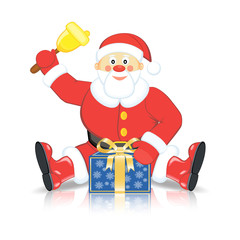 Santa Claus with the gift and the bell