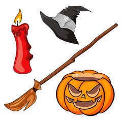 Candle, pumpkin, besom and cap