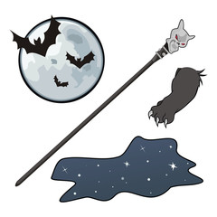 Moon, night, cane and paw