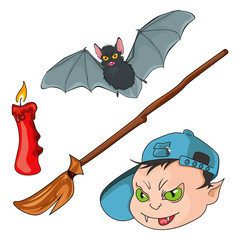 Werewolf, bat, candle and besom