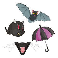 Umbrella, bat, features and jaw