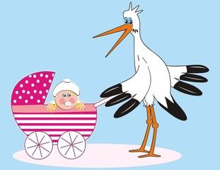 Stork - girl in a stroller