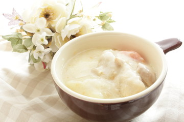 Chicken stew in soup cup for winter food image