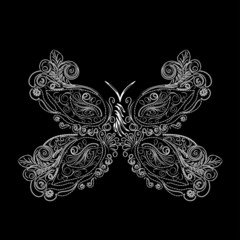 Abstract isolated vector butterfly