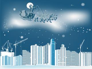 Santa Claus on sleigh above blue city